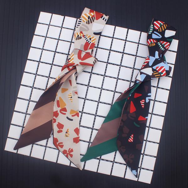 120cmx5cm sac a attaché poignée foulards en soie petit ruban sergé d'abeille en soie version coréenne de l'écharpe à rayures sauvages petite écharpe jos02a