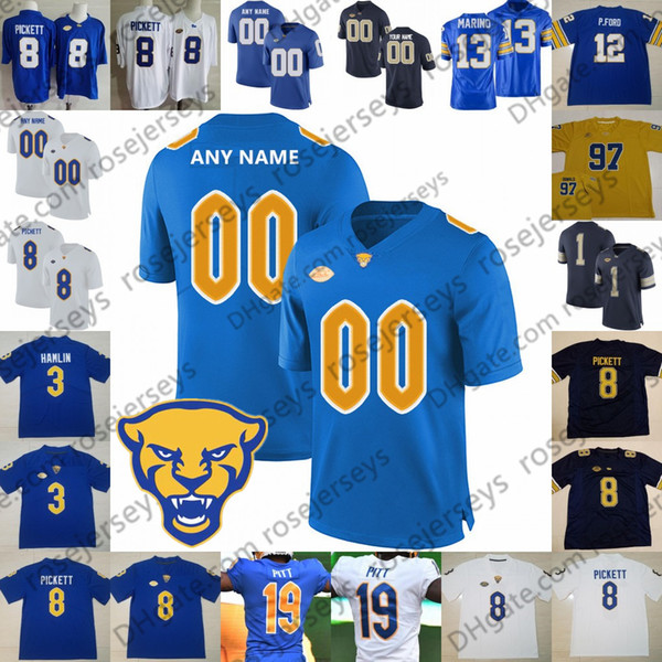 Custom Pittsburgh Panthers Pitt 2019 Fútbol Azul marino Royal Gold White Cualquier nombre Número 8 Pickett Ffrench Hamlin Tipton Patti Weaver Jersey