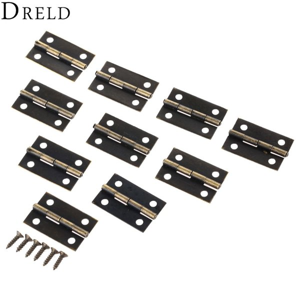 oor butt hinges 50Pcs 24*16mm Furniture Hinge Cabinet Drawer Door Butt Hinge Antique Wood Jewelry Box Decorative Hinges for Furniture Har...