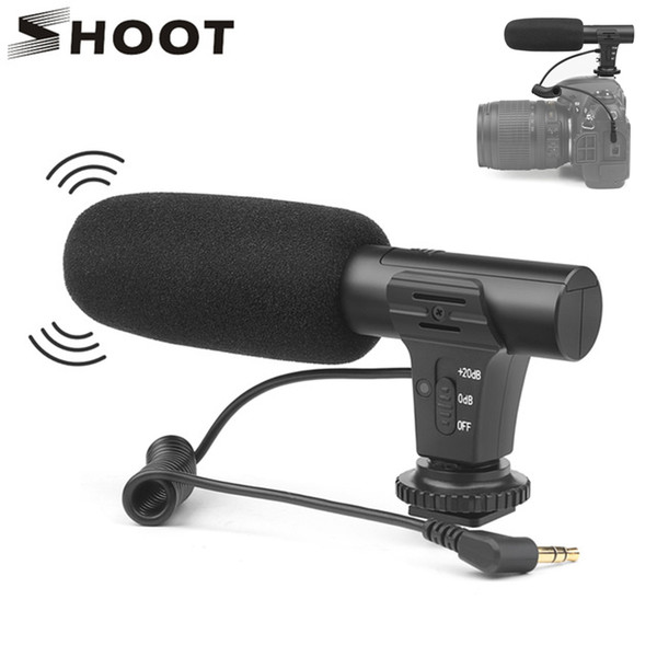 SHOOT Stereo Camcorder Microphone DSLR Camera Microfone For Nikon Canon Sony DSLR Camera For Xiaomi 8 iphone X Mobile Phone
