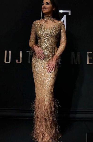 Evening dress Yousef aljasmi Labourjoisie Zuhair murad Column High Collar Long Sleeve Gold Tulle Sequins Fearher Long Dress James_paul