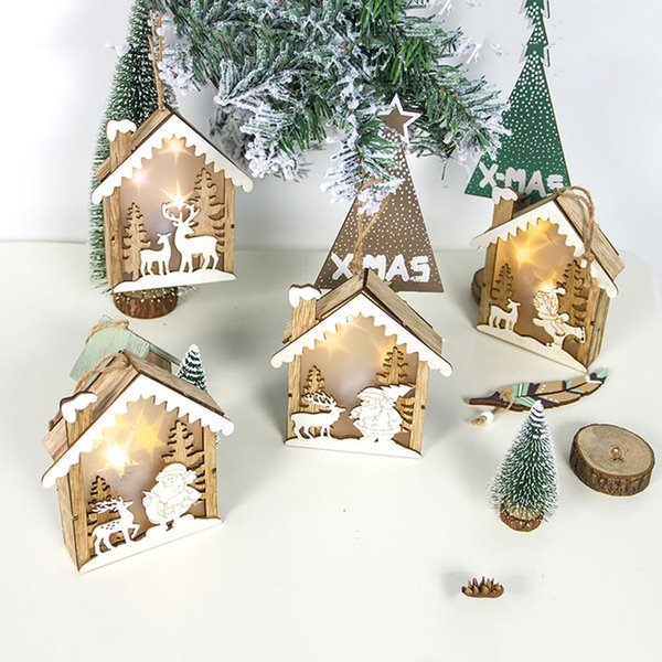 Lightweight Wooden Log Cabin Shape Cabin Light Up Ornament Hanging Christmas Xmas Tree Hotel Window Decor Christmas Decoration Decorating The House