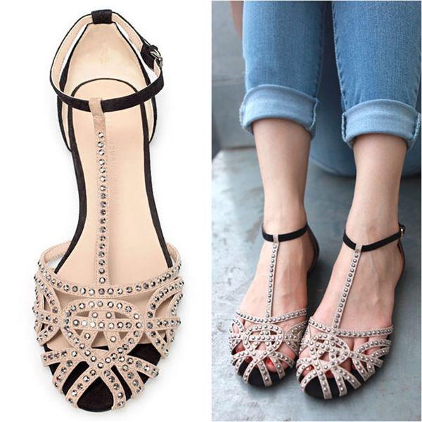 Venta caliente a estrenar 2014 moda mujer sandalias planas rhinestone recorte zapatos de verano de alta calidad de punta abierta zapatos de las señoras