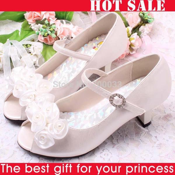 Großverkauf-Heißer Verkauf !! Blumen Weiße Perlen Kinder Mädchen High Heel Sandalen Kinder Hochzeit Schuhe Kinder Größe 26-36