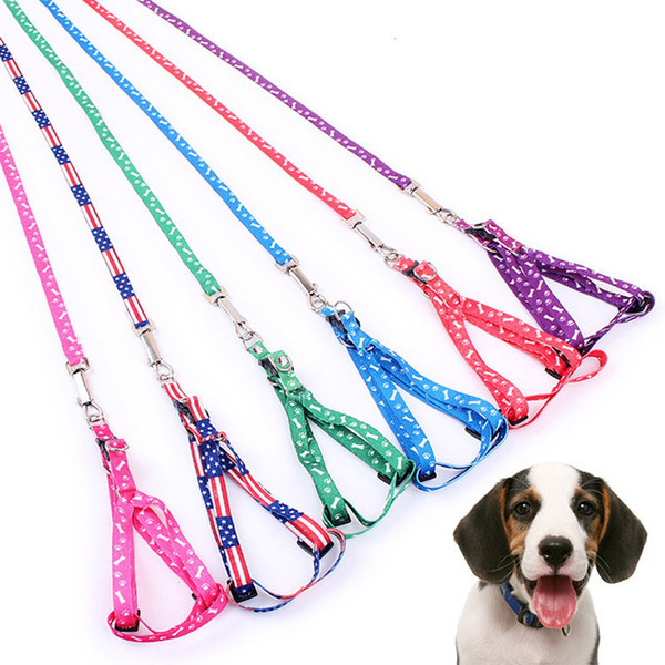 best selling 1.0*120cm Dog Harness Leashes Nylon Printed Adjustable Pet Dog Collar Puppy Cat Animals Accessories Pet Necklace Rope Tie Collar