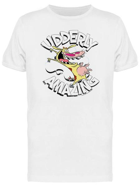 O t-shirt branco dos homens gráficos absolutamente surpreendentes da vaca e da galinha