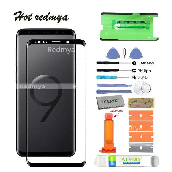 Orijinal s9 + Samsung Galaxy S9 Artı G965 G965F LCD Ön Dış Dokunmatik Ekran Cam Lens Değiştirme Sensörü Paneli Onarım Cam Ile araçları
