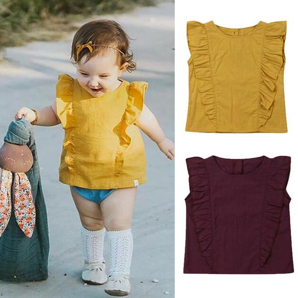 Verão Da Criança Da Criança Do Bebê Ruffles Sem Mangas Cor Sólida Casual T-shirt Tee Tops Crianças Roupas Meninas 1-5Y