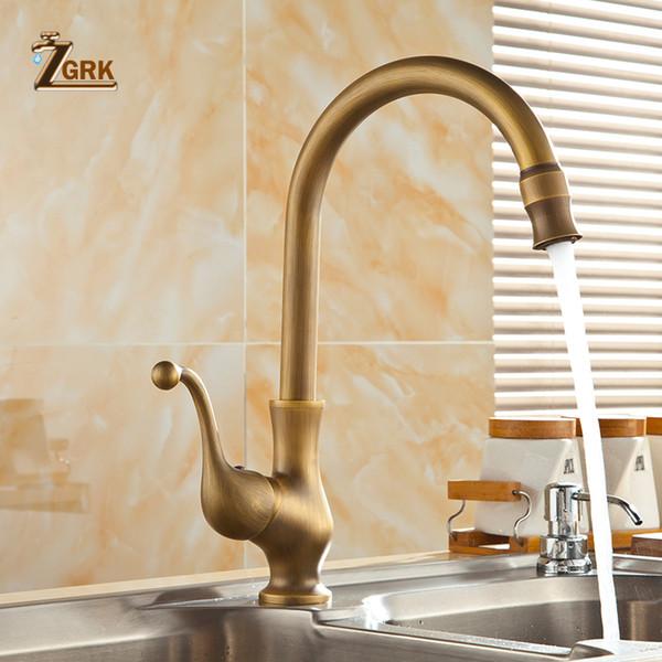 ZGRK Bathroom Faucet antique brass water tap Kitchen Single Hole Handle Swivel 360 Design Mixer Taps Basin Sink tap