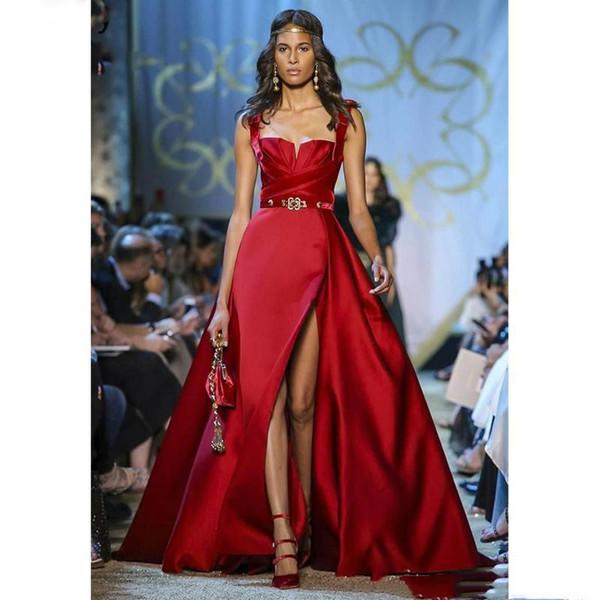 Haute Couture Красный Вечерние платья Спагетти Разделить Пром платье платья Формальные партии Специальным событием платья Robe De soirée