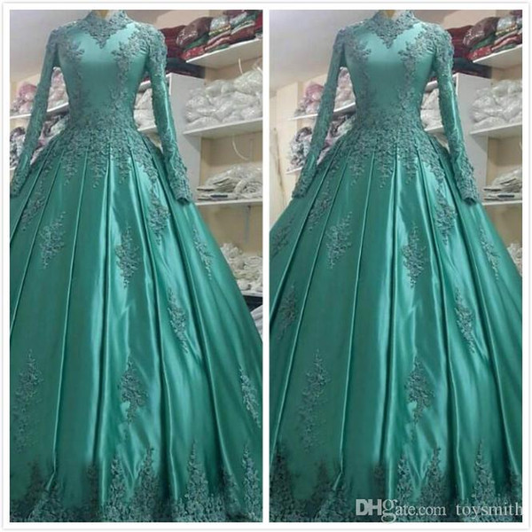 Envío gratis nueva llegada de satén de encaje apliques cuello alto vestidos de novia largos vestido de bola de manga larga musulmán boda vestidos de novia