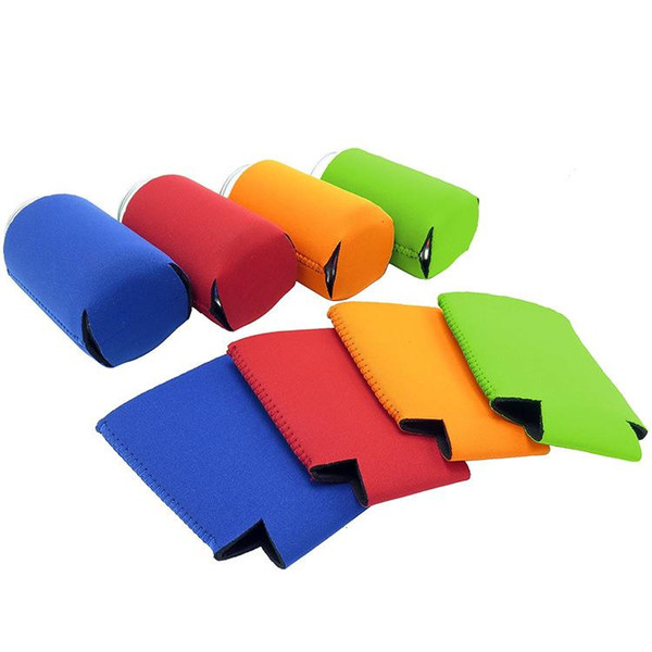 Solid Color Neoprene Foldable Stubby Holders Beer Cooler Bags For Wine Food Cans Cover Baby Feeding Tools CCA11414-A 200pcs
