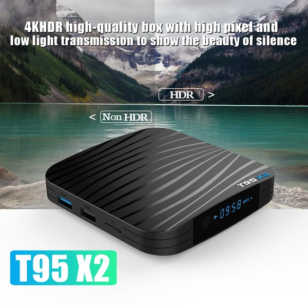 T95X2 Android 8.1 4GB 64GB Amlogic S905X2 Smart TV BOX Quad Core Dual Wifi Bluetooth Media Player T95 X2