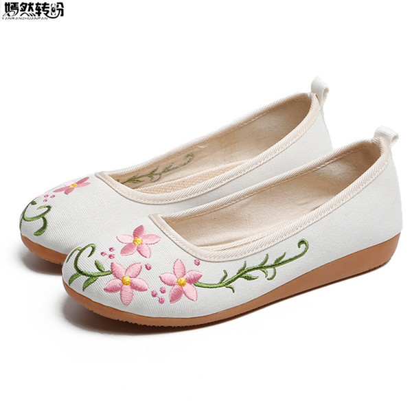 Spring Summer Canvas Women Flats Round Toe Slip On Floral Embroidery Ballerina Shoes Woman Soft Comfort Breathable Flat Shoes