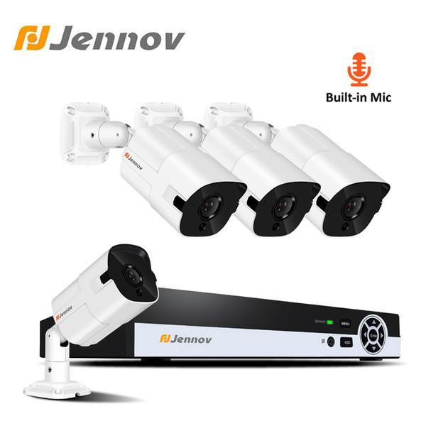 Jennov 4CH 1080P 2MP Video Surveillance Kit IP Camera POE CCTV Kit Home Security Camera System NVR Set HD P2P Audio Record