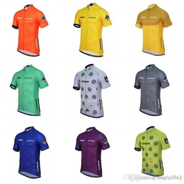 best selling 2018 Strava Cycling Jersey short sleeves Bicycle Breathable Racing cycling Clothing Quick-Dry Lycra Bike ropa ciclismo hombre C1414