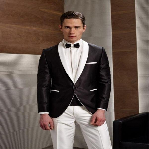 formal black morning suit white shawl lapel groomsmen tuxedos suits one button slim fit men wedding suits (jacket+pants+tie)