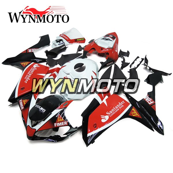 Santander Red White and Black NO.41 Plastic Injection Casing For Yamaha YZF1000 R1 Year 2007 2008 Complete Fairing Kit R1 07 08 Body Cowling