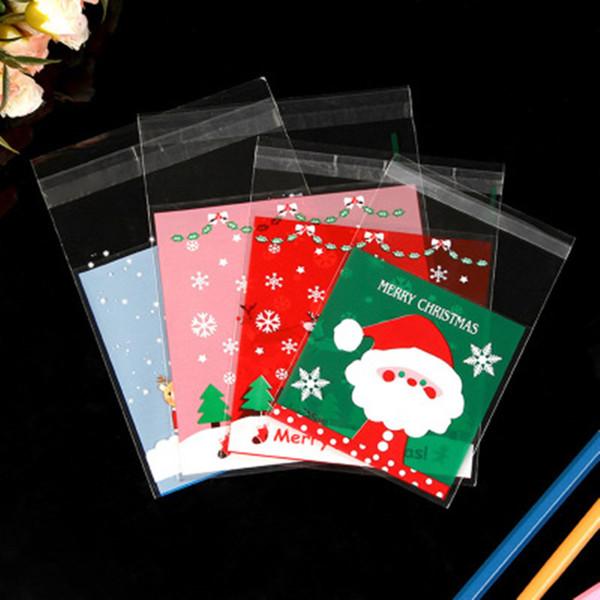 100 PCS De Noël Cadeaux D'OPP Sac Biscuit Bonbons Dragée Paquet Auto-Adhésif Nouvel An 2020 pour Noel Home Party Emballage Décoration