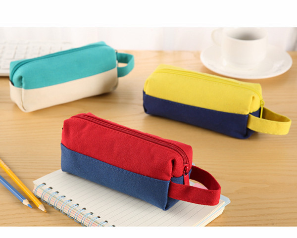 Kawaii Canvas pencil cases for girls Cute Portable Big Capacity color blocking pen bag Stationery pouch school supplies zakka