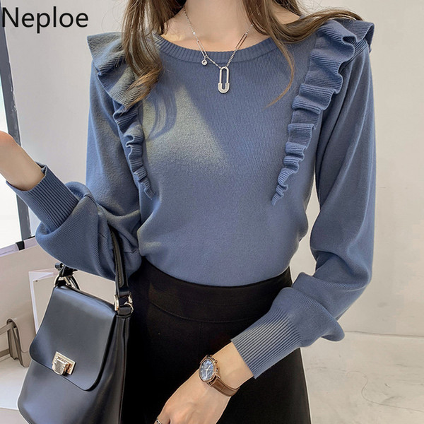 Neploe 2019 Autumn Sweater Ruffles Mulheres doce manga comprida Magro Inverno Knit Pullover O pescoço Casual Jumper Knitwear Tops 55298
