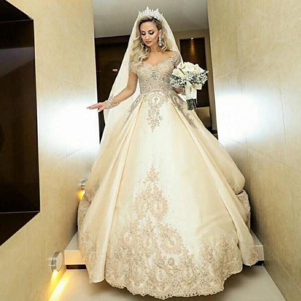 2020 Herrliche Sheer mit langen Ärmeln A-Linie Brautkleider SpitzeAppliques wulstige Brautkleider Lange Robe De Heirat Individuelle Plus Size