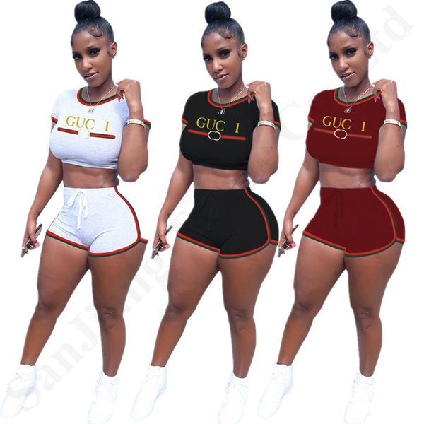 Luxury Designer Tracksuits Women Summer Brand Shorts Set Braid Ribbon Crop T shirt Tops with Shorts Two Piece Outfist Bodysuit Clothes C7806