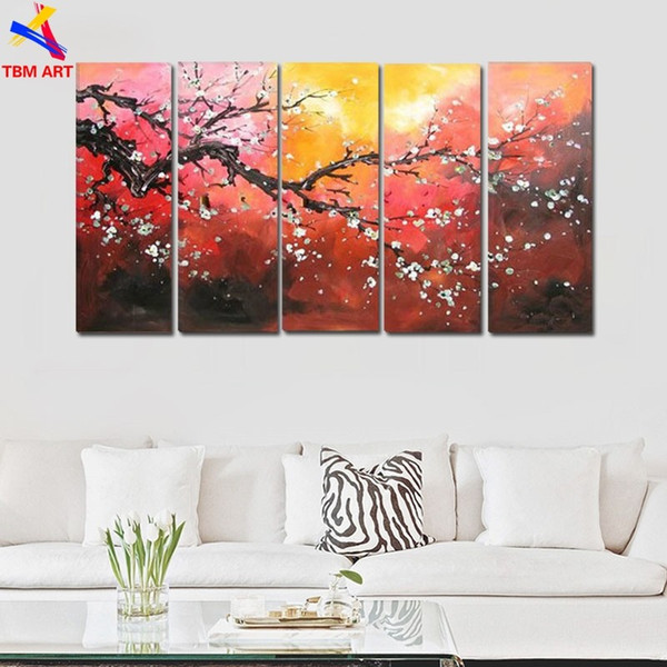 The Plum Blossom Canvas Painting Handmade Modern Abstract Oil Painting on Canvas Chinese Flower Oil Painting No Framed JYJLV202