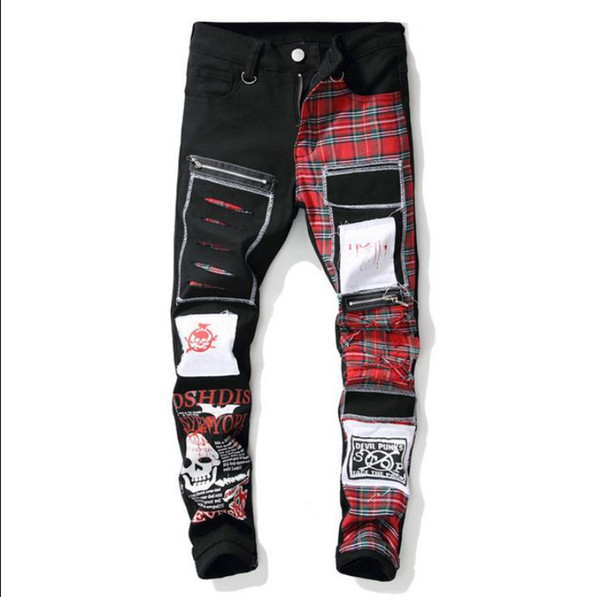 Mens Skull Print Plaid Patchwork Jeans Ripped Ripped Denim Pants Vintage Full Length Black Hole Trendy Patches Male Jeans J2972