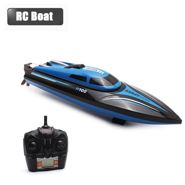 rc High Speed RC H100 2.4GHz 4 Channel 30km/h Racing Remote Control Boat with LCD Screen as gift For children
