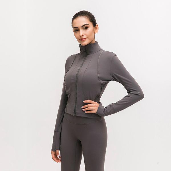 LU-91 Front zipper Splice Running Jacket Women Sport coat Long Sleeve Yoga Jacket Elastic Slim Yoga Top Women Sport Shirt