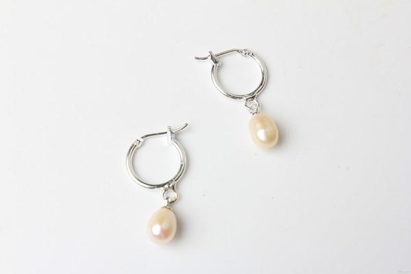 Argent Plaqué Boucle D'oreille 6-7mm Ventes Chaudes Riz Blanc Perle De Frenshwater avec Bonne Qualité pour les Femmes Cadeau