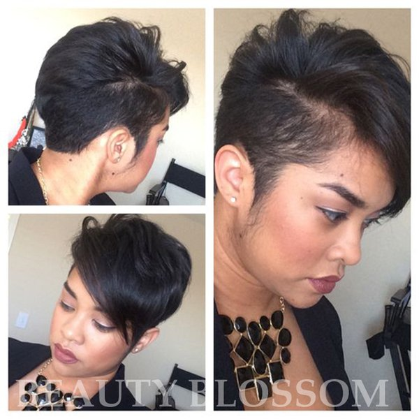 Pixie cut Natural Hair human Black Hair Wigs For Black Women With Medium Size Side Wig Bangs Side part little lace front wigs