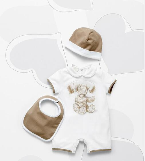 Retail Baby Rompers Baby Girl Boy Clothes Cartoon Newborn Short-sleeved Doll Collar Infant Jumpsuits Girl Boy Clothing 3pcs/Set