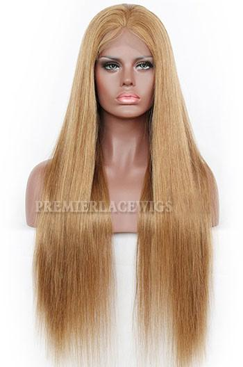Full Lace Human Hair Wigs Brazilian Remy Hairs 8#Color Natural Straight 150% Density Natural Hairline With Baby Hair