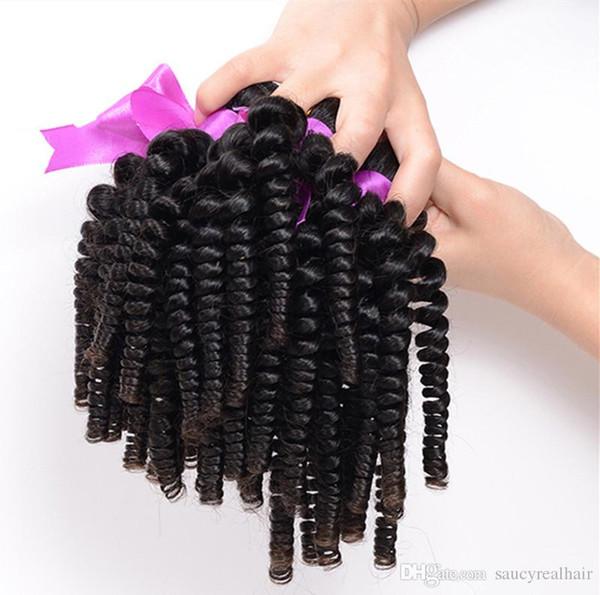 Elibess 3 Bundles Afro Kinky Curly Hair Spiral Curl Weave 100% Capelli umani Capelli Vergini brasiliani Ricci Aunty Funmi Riccioli gonfiabili trama dhl libero