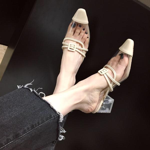 Crystal2019 Slipper Half Woman Xia Baotou Woman Slipper Crystal avec grossier avec un mot apporter des chaussures transparentes pour femmes