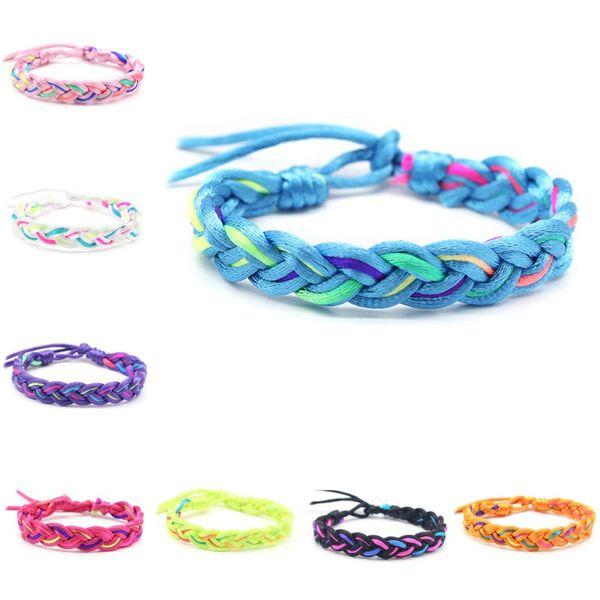 Смешать цвета Friendship браслеты ручной работы Тканые браслеты для запястья ножной Воск Веревка браслеты Браслеты браслетов браслет аксессуары N49Y