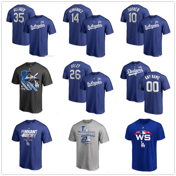 Custom Men'S DODGERS Baseball T Shirt 2018 National League Champions  Kershaw Turner Machado Bellinger Hernandez Utley Name & Number T Shirts  Long
