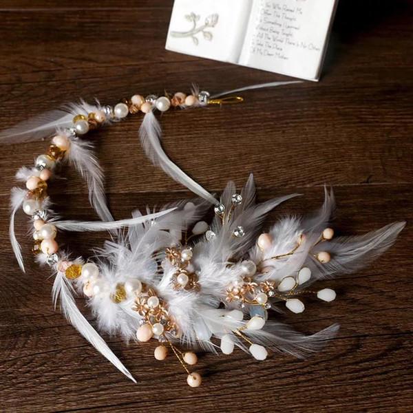 White Feather Bridal Hairbands Rhinestone Crystal Brides Headdress Crown Wedding Head wear Evening Hair Accessory