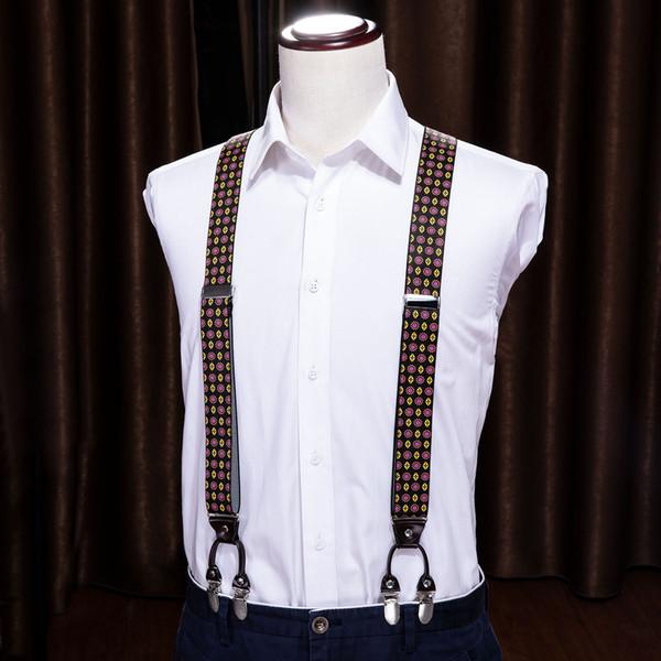 Hi-Tie New Mens Womens Unisex Clip-on Tirantes florales elásticos en forma de Y tirantes ajustables para mujer hombre moda accesorio BH-1008