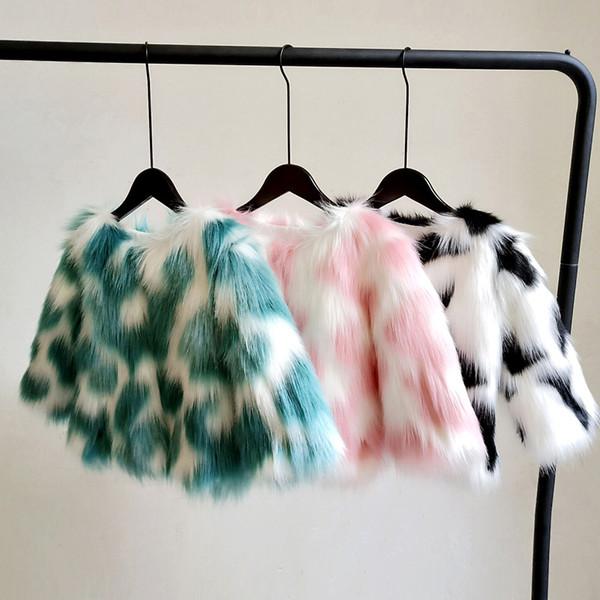 Winter coat for kids /Kid's multicolor faux fur jacket / Baby girl glam faux fur coat / Girls coat