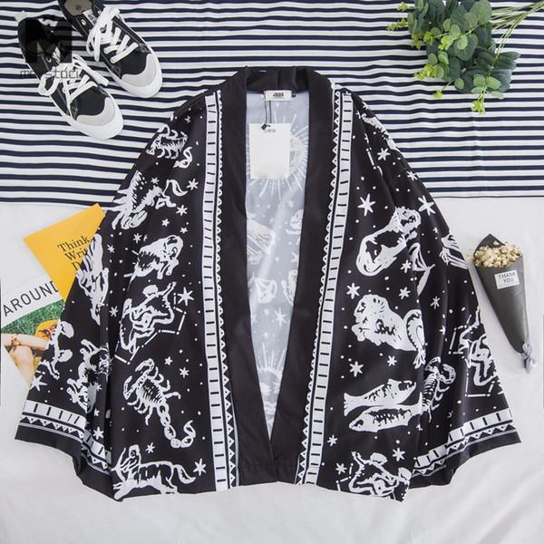 Japon Harajuku Kimono Hırka Erkekler Siyah Plaj Kimono Hırka Erkekler Artı Boyutu Uzun Ceket 2019 Yaz