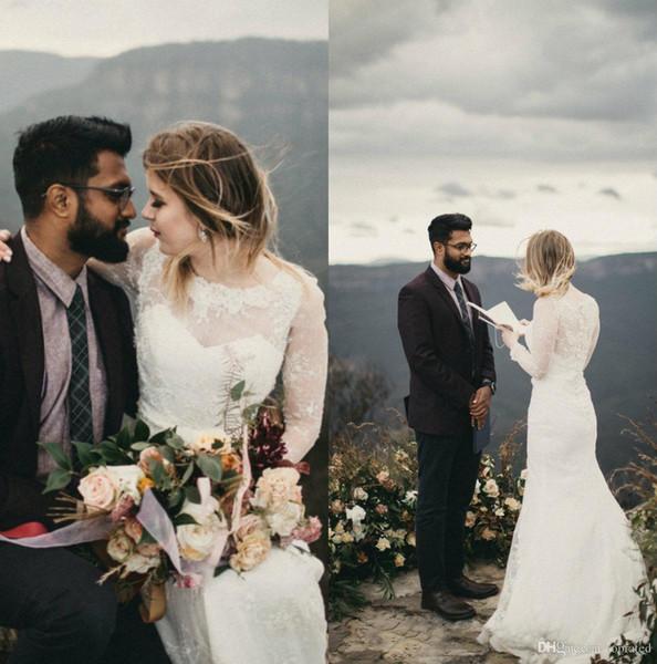 2020 Vintage dentelle de mariée sirène Robes Sheer cou balayage train Jewel Appliques Country Beach Robes de mariée grande taille pas cher sur mesure