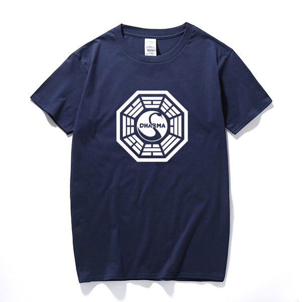American Tv Play Series Lost Dharma Initiative T-shirt Fitness Cotton Short Sleeve Fans T Shirts Tops Tees Camisetas Masculinas SH190628