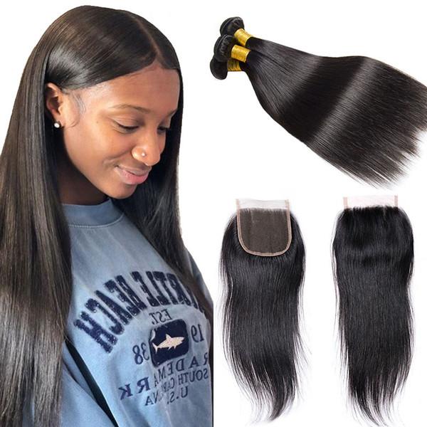 Brazilian Straight Human Hair 3Bundles with Closure Natural Black 7A Grade Cheap Virgin Hair Extensions Brazilian Weave Human Hair Bundles