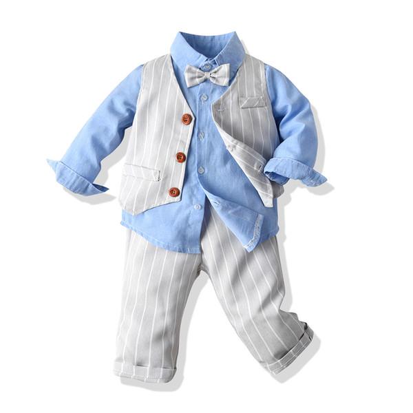 Sonbahar ve Kış Çocuk Giyim Yeni Gentleman Suit Vest + Gömlek + Pantolon Boy Suit Bebek Tatil Kostüm 3 Adet Set