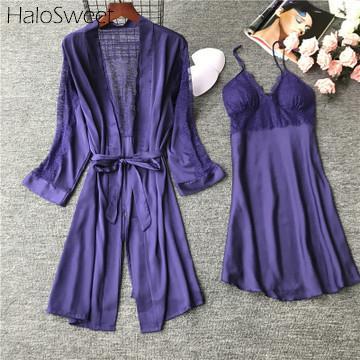 HaloSweet Slik Pijamas Mulheres Sleepwear Terno Robe Femme Camisola Sexy Lingerie Rendas Vestidos de Roupas Em Casa Para As Mulheres Camisola