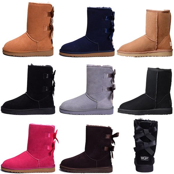 2020 Kadınlar Kış Kar Boots Ayak bileği Diz Bow Scarpa Chaussures MİNİ Bailey Önyükleme