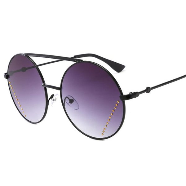 Fashion Women Personality Sunglasses Round Frame Sun Glasses Goggles Anti-UV Spectacles Rivet Lens Eyeglasses Adumbral SUN Gasses A++